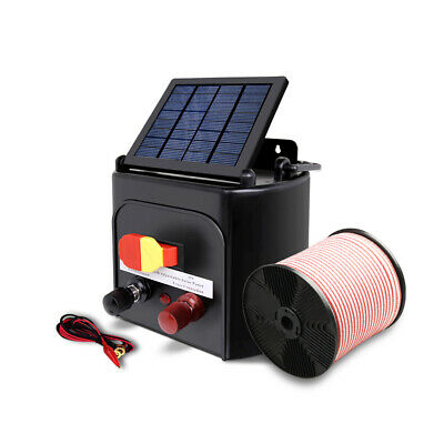 Giantz 3km 0.1J Solar Electric Fence Energiser Energizer Charger with 400M Tape