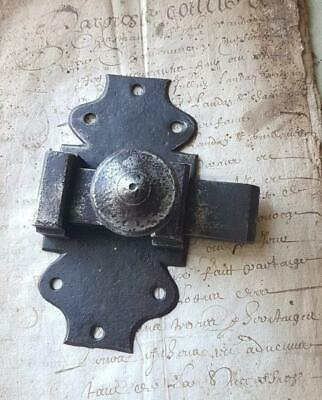 Antique French Metal Slide Bolt Door Latch Lock Hardware Architectural Salvage