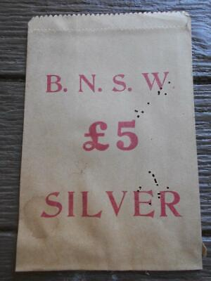 Vintage B.N.S.W. 5 pound silver coins Bank New South Wales bag banking money