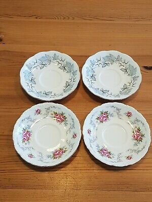 Royal Albert Bone China X4 Saucers Tranquility & Silver Maple 1st quality