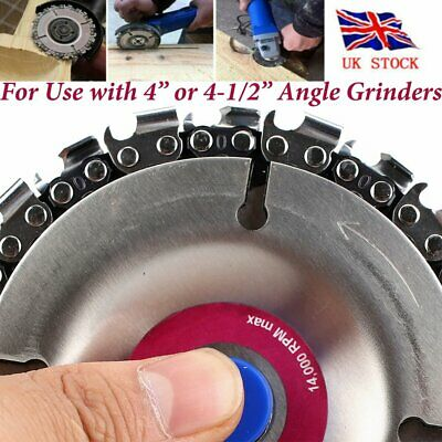 "4"" Chain Saw Blade 22 Tooth Wood Grinder Disc Grinding Wheel Carving Angle UK"