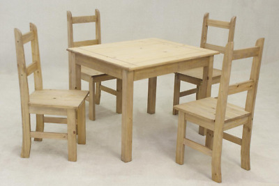 Mexican Solid Pine Dining Set Distressed Pine Includes Table and 4 Chairs