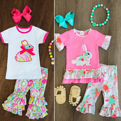 Toddler Kids Baby Girls Easter Outfit Clothes T-shirt Tops+Floral Pants 2PCS Set