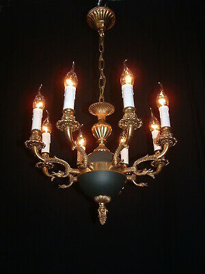 Old French bronze Empire style 8 arm chandelier France Green gold color