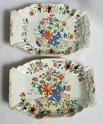 1813-20 Masons Patent Ironstone China Pair Of Dishes Plates Fence Rock & Flower