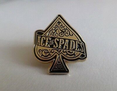 MOTORHEAD ACE OF SPADES gold rock metal punk shaped embossed metal badge lemmy