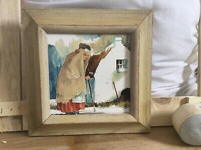 """Hand Painted Ceramic Art Tile Framed """"old lady by house""""  SIGNED  6"""""""