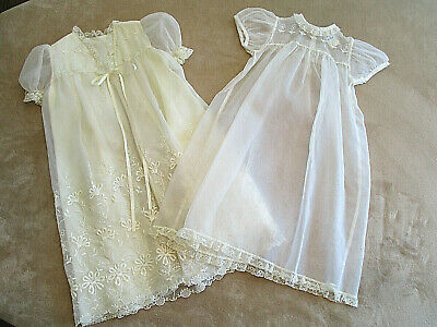 Vtg MADONNA by HADDAD Baptism Gown Robe 2 pc Set Ivory Sheer 3-6 mos Girls Lace