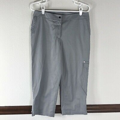 Zenergy By Chicos Womans Capris Size 0 Gray Cargo Pocket Hiking