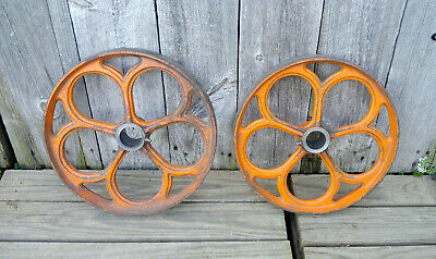 Pair Antique Cast Iron Pulley Industrial Steampunk Wheels Old Orange Paint