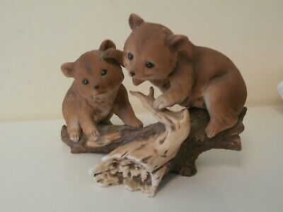 Alexander Fine Porcelain 1986 Collection Bear Cubs Playing On A Log