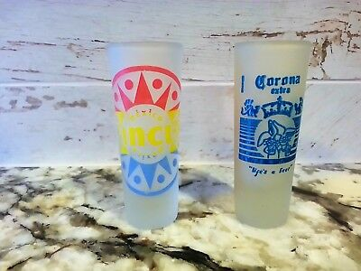 "Cancun and Matamoros Mexico Shot Glass Glasses Corono Frosted 4"" Unused Lot of 2"