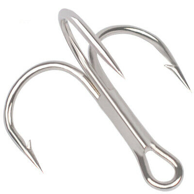 Lot 50pcs Fishing Hook Sharpened Triple Treble Hooks #2/4/6/8/10 Fishhook Tackle