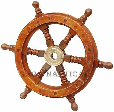 """Wooden 18"""" Nautical Ship Steering Wheel Pirate Decor Wood Brass Wall Boat Gift"""