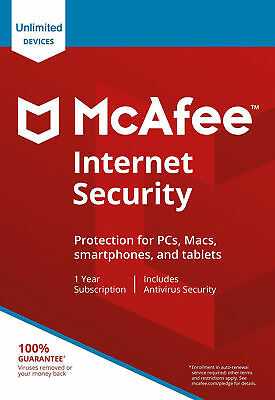 McAfee Internet Security 2019 Unlimited Devices 1 Year Antivirus Genuine License
