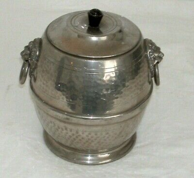 Superb English Antique Hammered Pewter Biscuit Barrel?? With Lions Head Handles