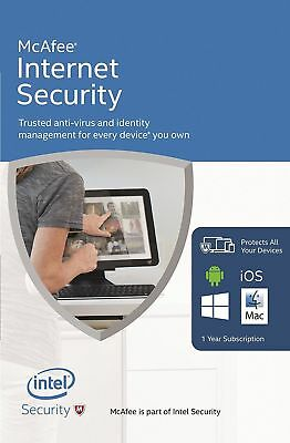 DOWNLOAD McAfee Internet Security 2019 ONE User (PC/Mac/Android/iOS) 12 Month