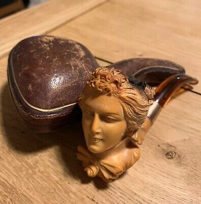 Vintage Meerschaum Hand Carved Pipe With Ladies Head, Leather Case Slight Damage