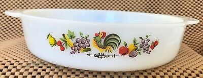 """Anchor Hocking Fire-King 8"""" × 2"""" Round Chanticleer (Rooster) Casserole Dish #450"""