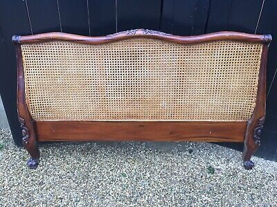 Vintage Stunning Oak & Ratan Double Bed Headboard with Decorative Lion Claw Feet