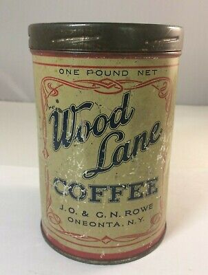 Antique Coffee Tin Can Wood Lane Coffee Oneonta, New York 1-Pound Vintage