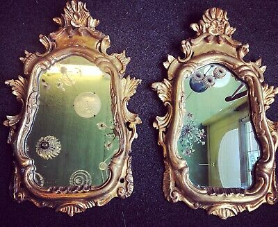 Pair Of Italian 1950s Carved Wood Mirrors By Fratelli Paoletti Gilt Decorative