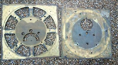 Two Eighteenth Century Long Case Clock Square Brass Dial Pans For Spares