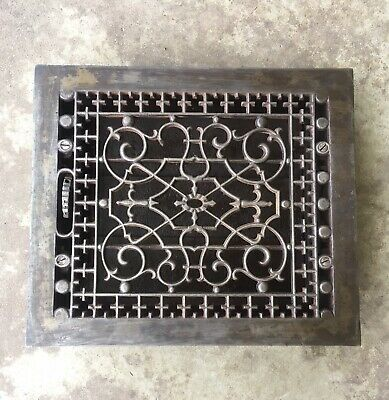 "Antique Cast Iron Heat Grate Louver  Floor Vent Wall Register 12"" x 10"" Restored"