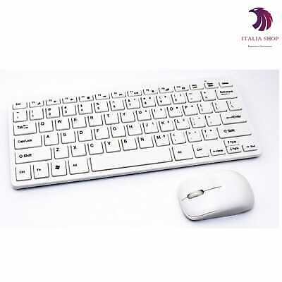 Mini Tastiera Wireless 2.4Ghz + Mouse Senza Fili Pc Notebook Kit Keyboard