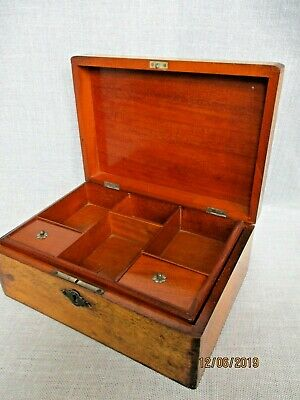 Antique Wooden Jewellery Box with lift Out Tray Collectable
