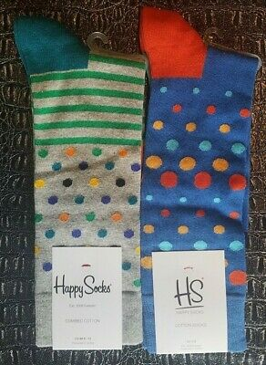 2 Pairs Happy Socks NEW Comb Men's 10-13 New with Tags Fast Shipping Polka Dot
