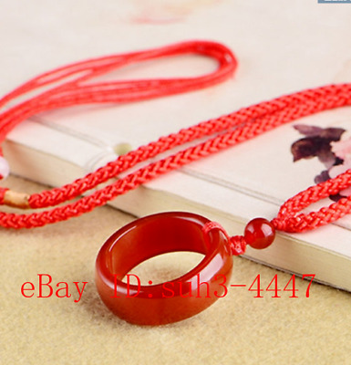 Chinese Natural Red Jade Hand-carved Lucky Buckle Jadeite Pendant Necklace Gifts