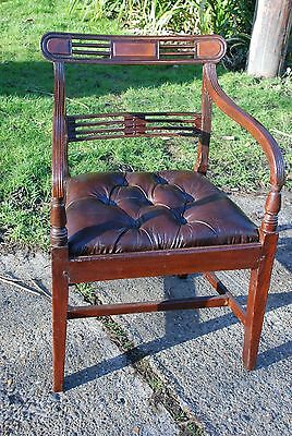 OPEN ARM MAHOGANY DESKCHAIR with  BROWN LEATHER  DEEP BUTTONED