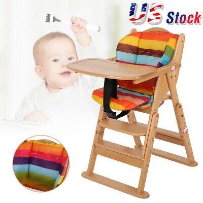 Durable Baby High Chair Infant Toddler Feeding Booster Seat Folding (Wood Color)