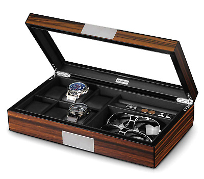Lifomenz Co Watch Jewelry Box for Men 6 Slot Watch Box,6 Watch Case 8 Pair and