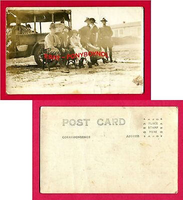 WORLD WAR I MILITARY SOLDIERS & SWEETHEARTS with PICNIC WAGON at CAMP ~ RPPC