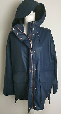 Sweaty Betty Brave The Elements Trench Coat Raincoat Navy Blue Size M 12-14