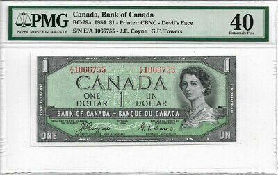 1954 $1 Devils Face EF40 PMG  Bank of Canada $1 Note
