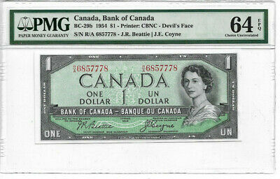 1954 $1 Devils Face CH64 EPQ PMG  Bank of Canada $1 Note