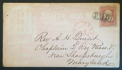 American Tract Society all-over ad cover w/ orig 1862 letter to Army Chaplain