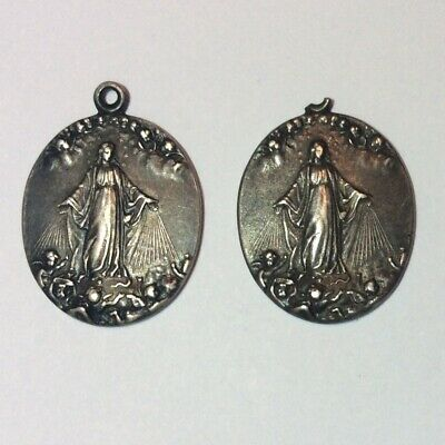 Antique Lot Of 2X Sterling Silver Religious Medals Mary Congregation Notre-Dame