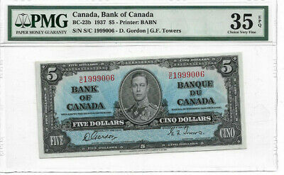 1937 $5 Bank of Canada VF35 EPQ PMG Certified