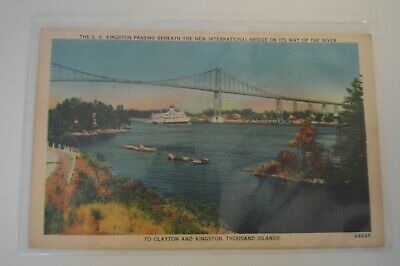 Vintage Color Postcard - The S.S. Kingston Passing, Thousand Islands Clayton
