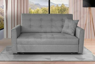 Sofa Viva - 2 Seater Sofabed + Large Storage + Spacious Bed - Grey Fabric