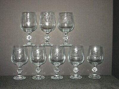 """Set 8 Import CASCADE Bohemia 6 7/8"""" Crystal Etched Heart Water Goblets Glasses"""