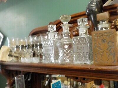 23 Pc Vintage Decanters Scotch,Rye,Copper Holder,Stemware,1900'S Crystal,Overlay