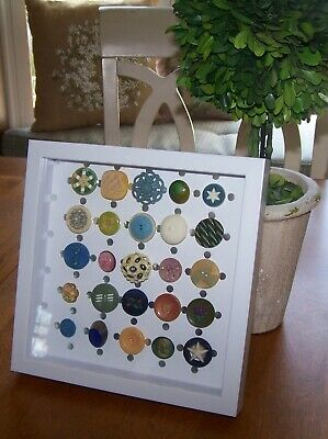 Antique Ooak Framed Buttons Gorgeous Collection 25 Beauties Mixed Lot Shadowbox
