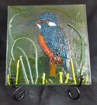 """New Glass Fused """"KINGFISHER"""" Panel with Stand - Lovely Gift Or To Keep! (KING1)"""