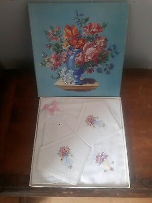 Vintage Boxed Linen Embroidered Hankies.