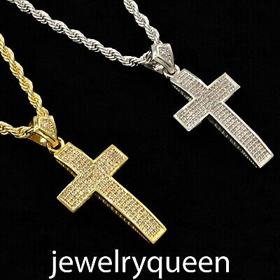 Mens Cross Charm Pendant Necklace Curb Cuban Stainless Steel Chain 5mm 18-30''